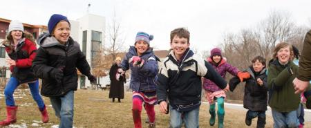 Waldorf Students Playing Outside